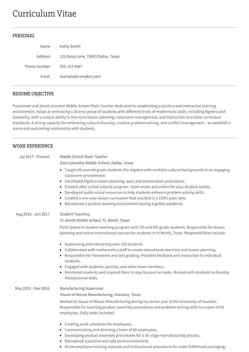 Resume example Middle school teacher